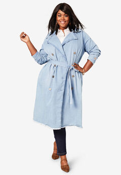 Denim Trench Coat, LIGHT STONEWASH
