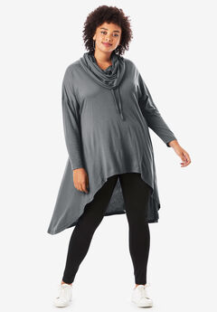 Drawstring Cowlneck Tunic, DARK CHARCOAL