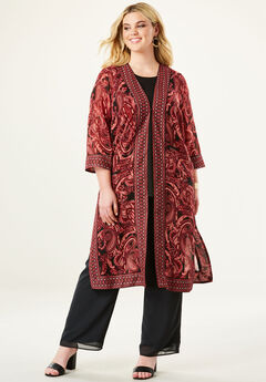 Three-Piece Duster & Pant Set with Open Front,