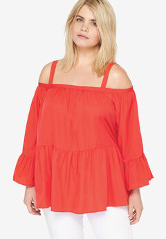 Tiered Cold Shoulder Tunic, CORAL
