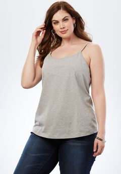 Bra Cami with Adjustable Straps, HEATHER GREY