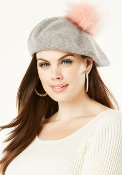 Faux-Fur Pom Beret, HEATHER GREY