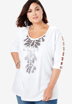 Embellished Lattice Sleeve Top, WHITE