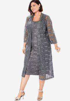 Lace & Sequin Jacket Dress Set, GUNMETAL