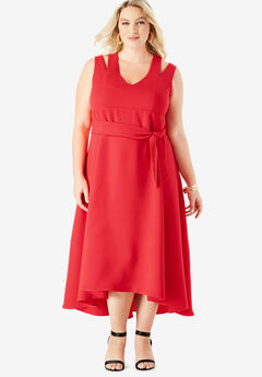 Sleeveless Fit & Flare Dress with High-Low Hem,