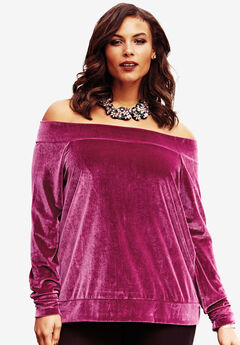 Velour Off-The-Shoulder Top,