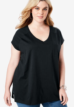 V-Neck Ultimate Tee, BLACK