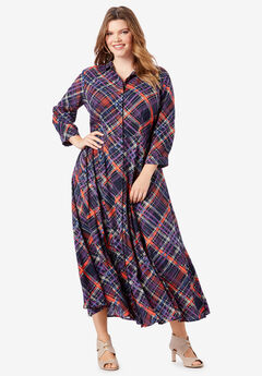 Flowing Button-Front Dress,