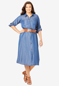 Button-Front Shirtdress,