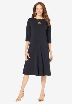 Three-Quarter-Sleeve Swing Drape Dress,