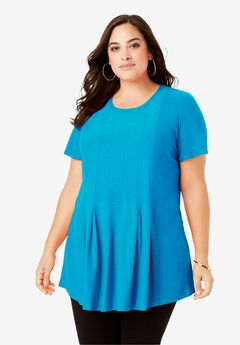 Pleated Tunic with Short Sleeves, OCEAN