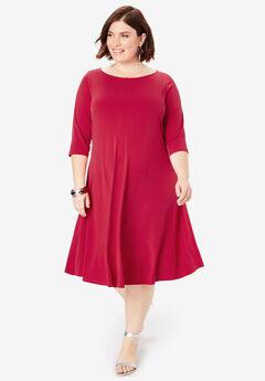 7086ee484e0 Three-Quarter-Sleeve Swing Drape Dress