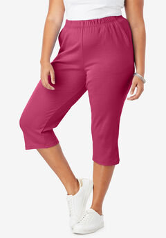 Soft Knit Capri Pant, VERY BERRY