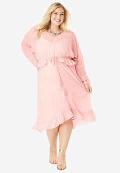 Ruffle Drawstring Dress with Tassels,