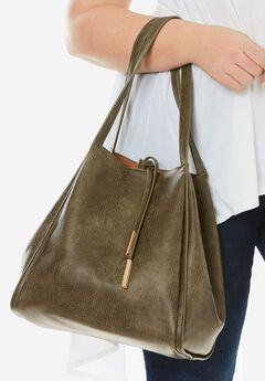 Faux-Leather Bucket Bag,