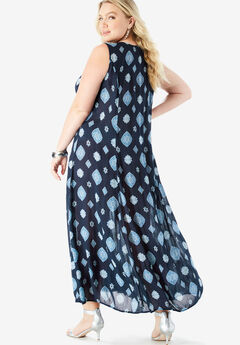 ef8f832117 Button-Front Everywhere Crinkle Dress. Roaman s
