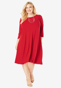 Three-Quarter-Sleeve Swing Drape Dress, HOT RED