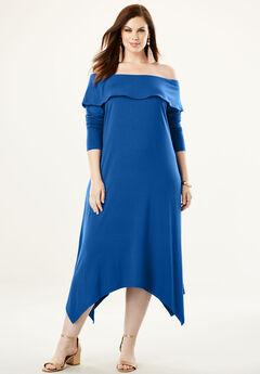 Off-The-Shoulder Dress with Handkerchief Hem,
