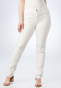 Straight-Leg Jean with Invisible Stretch® by Denim 24/7®, BRIGHT WHITE DENIM