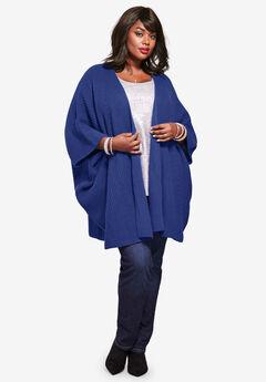 Ribbed Kimono Cardigan, ULTRA BLUE
