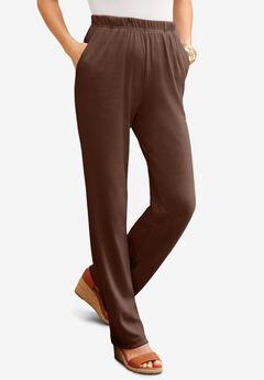 Straight-Leg Soft Knit Pant, RICH BROWN