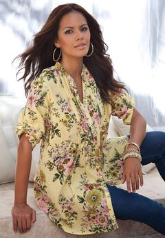 English Floral Tunic with Pintucks,