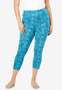 Essential Stretch Capri Legging, TURQUOISE WATERCOLOR PAISLEY