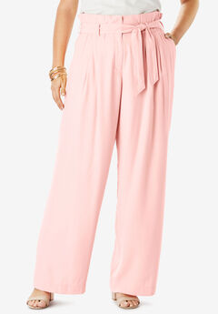 Paper-Bag Waist Pant With Wide Legs, SOFT BLUSH