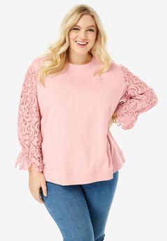 Lace-Sleeve Sweatshirt with Ribbon Ties, SOFT BLUSH