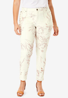 Foil Print Jean with Invisible Stretch® by Denim 24/7®, IVORY FLORAL PRINT