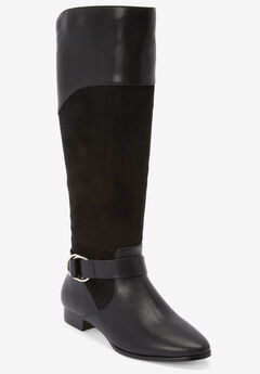 The Alina Wide Calf Boot by Comfortview®, BLACK