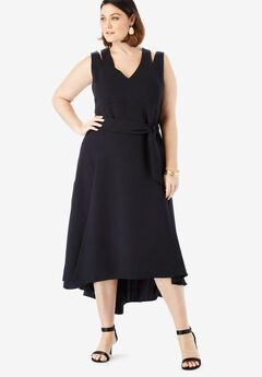 Sleeveless Fit & Flare Dress with High-Low Hem, BLACK