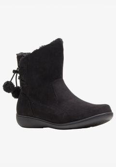 Jazzy Boot by Soft Style, BLACK FAUX SUEDE