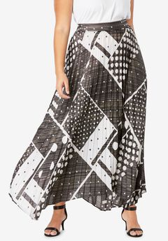 Pleated Midi Skirt With Metallic, GRAPHIC PRINT