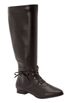 The Audrina Wide Calf Boot by Comfortview®, BLACK