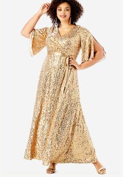 ebb670d1cea Sequin Gown with Satin Belt. Roaman s