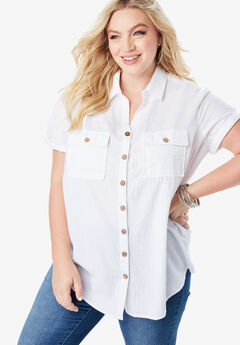 Seersucker Shirt, WHITE