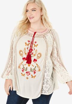 Embroidered Boho Tunic,