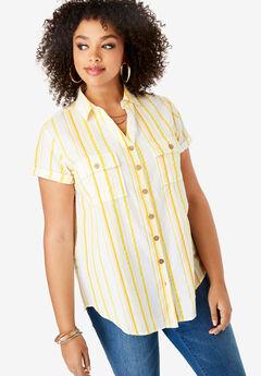 Seersucker Shirt, YELLOW STRIPE