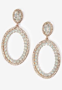 Rhinestone Oval Earrings,