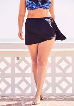 Side-Slit Swim Skirt, BLACK