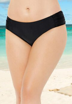 Side Ruched Bikini Bottom, BLACK