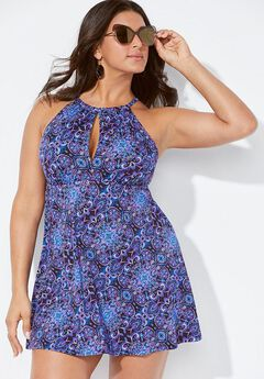 Keyhole High Neck Swimdress,