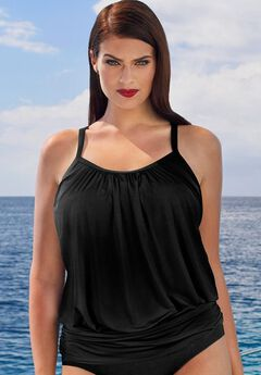 Blouson Tankini Top with Shirring, BLACK