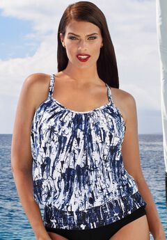 Blouson Tankini Top with Shirring, NAVY BAMBOO