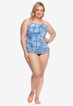High-Neck Tankini by 24th & Ocean, NAVY STAINGLASS MOSAIC