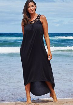 High Low Dress Swimsuit Cover Up, BLACK