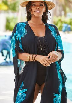 Open-Front Coverup in Crinkle,