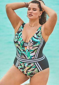 Stripe V-Neck One Piece Swimsuit,