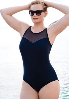 Mesh High Neck One Piece Swimsuit, BLACK